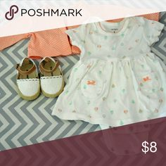 Carter's Dress Set Cute dress with bodysuit attached and hot air balloon designs on the dress. Comes with a orange polka dotted cardigan. Carter's Dresses Casual