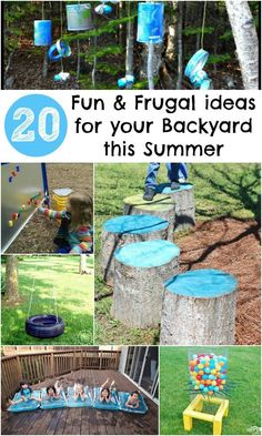 20 awesome features to add to your backyard this summer, all are cheap to make or even free. Great diy garden play ideas outdoor play area for kids cheap 20 Fun and Frugal ideas for your Backyard this Summer - In The Playroom Outdoor Play Spaces, Kids Outdoor Play, Outdoor Activities For Kids, Kids Play Area, Backyard For Kids, Desert Backyard, Cozy Backyard, Large Backyard, Backyard Camping