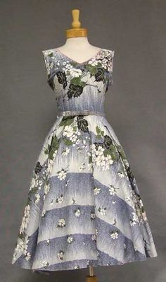 Blue Floral 1950's Dress w/ Rhinestones and Floral Applique.