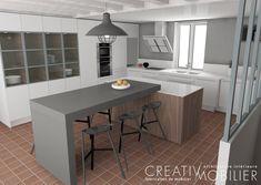 2 propositions d'agencement pour une cuisine : laquelle allez-vous préférer....la 1ère cuisine fermée avec une verrière ou la seconde avec l'ilot servant de coin repas?