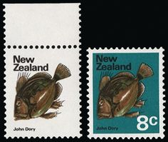 New Zealand  1973-76 No wmk 8c 'John Dory', error Blue-green (background) omitted, upper marginal, unmounted o.g. Spectacular and very scarce. Normal for comparison.