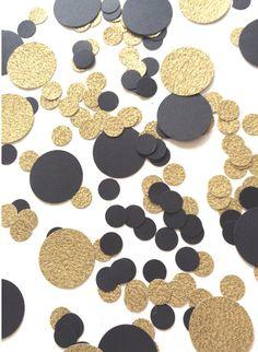 1,000 Black & Gold Confetti | Circle Confetti | Bridal Shower | Table Decor | Wedding | Baby Shower | Large Confetti | Gold by ConfettiGirls on Etsy https://www.etsy.com/listing/245983201/1000-black-gold-confetti-circle-confetti