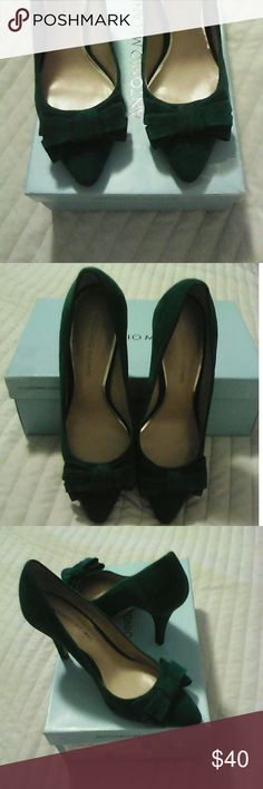 Antonio Melano Black Suede Pump Shoes Gorgeous hunter green suede pumps. Has a sexy bow on front of shoes. These shoes have never been used. Original price was 98.00 but baught them on sale for 58.00. great deal asking 40.00 obo.   Love this item? Make me an offer!! Every offer or bundle offers are given fair consideration....so don't let someone else steal these beauties from you.               !!! MAKE ME AN OFFER !!!  Check out the rest of my inventory, you may just find the gem of gems…