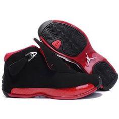 best cheap d4322 d7f8b Jordan Shoes Womens Air Jordan 18 Black Varsity Red  Womens Air Jordan 18 -  This Womens Air Jordan 18 Black Varsity Red features an all black color  scheme ...