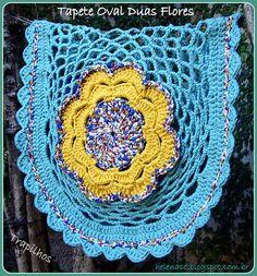 Tapete Oval Duas Flores em Trapilhos ou Fio de Malha (Crochet Rag Rug)