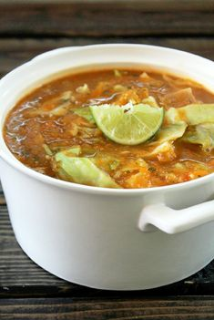 Fat Burning Cabbage Tortilla Soup -- Well, I don't look at cabbage soup as diet food. I look at it as a wonderful veggie soup that fills me up and may just happen to help me shed a few pounds in the process. Diet Soup Recipes, Lunch Recipes, Healthy Dinner Recipes, Healthy Snacks, Cooking Recipes, Paleo Soup, Healthy Soup, Eat Healthy, Healthy Cabbage Recipes