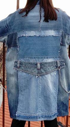 Denim coat / Jeans coat / Patchwork coat / Recycled jeans coat