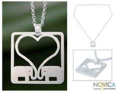 Sterling silver pendant necklace, 'Jumbo Love' at The Animal Rescue Site