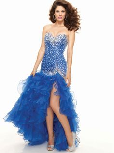 Mermaid Royal Blue Sequins Ruffle Skirt Prom Dress Formal Dress/ Quinceanera Dress Parai 93015