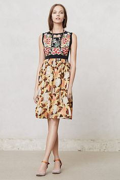 Anthropologie Luz Dress  __I don't like that the back of the yoke is plain black..I would extend the top print all the way around