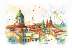 St. Petersburg - watercolor by Anna Sokolova