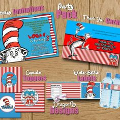 Printable Dr. Seuss Cat in the Hat Birthday Party Pack - U Print - ......