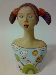 Blue-Eyed Ponytails - Ceramic bust of girl by Akoča a Ufola