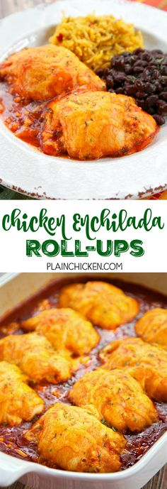 Chicken Enchilada Roll-Ups - chicken, cream cheese, southwest seasoning, cheddar cheese, wrapped in crescent rolls and baked in enchilada sauce. Serve with some black beans and Mexican rice or a salad. Tacos, Tostadas, Burritos, Enchilada Sauce, Crescent Rolls, Tamales, Mexican Dishes, Mexican Food Recipes, Quick Weeknight Meals