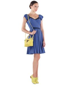 Short dress Françoise Gipsy Blue & Oxford Shoe Zizi Tequila yellow Gecko & Small bag Mini Arabesque Tequila yellow Silk calfskin by Repetto - Collection spring-summer 2015
