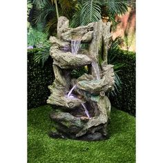 Millwood Pines Riey Fiberglass Tiered Flowing Fountain with Light Size: Small Barrel Fountain, Table Fountain, Rock Fountain, Fountain Ideas, Stone Fountains, Garden Fountains, Outdoor Fountains, Water Fountains, Outdoor Waterfall Fountain