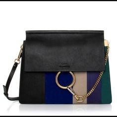 974a32fe9a Faye Multicolor Mediummulti Stripe Black  Dark Blue Leather Shoulder Bag
