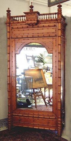Antique French faux bamboo armoire or wardrobe cupboard circa 1870.