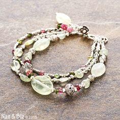 I am ready for spring.....Tourmaline and prehnite bracelet 2 pink green beaded by NanandBiz
