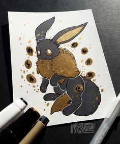 """""""Gilded Eeveelutions Series: Eevee """" I really like how Gilded Umbreon turned out from a few months ago so I figured """"lol I'm gonna turn this into a series and draw all the eeveelutions in this style cause it looks cool"""" Life has been pretty tough and..."""
