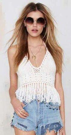 Glamorous Fringe Benefits Crochet Crop Top