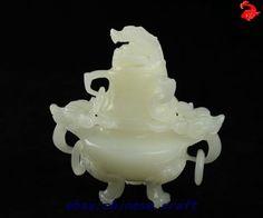 100% natural hand carved Afghanistan white jade Dragons Incense Burner