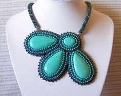 Statement Beadwork Bead Embroidery Pendant Necklace with Turquoise - TURQUOISE FLOWER - grey - turquoise. $120.00, via Etsy.
