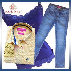 Um look perfeito para o dia a dia: calça jeans e camisa...mas fuja do convencional! Use uma regata rendada fazendo um composê com as cores de sua camisa, que poderá estar abotoada ou não.
