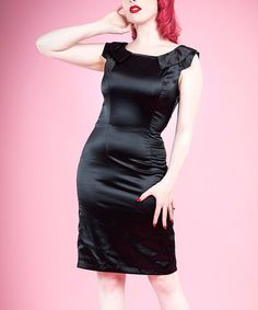 This Black Satin Pencil Sheath Dress - Women & Plus by HEARTS & ROSES LONDON is perfect! #zulilyfinds