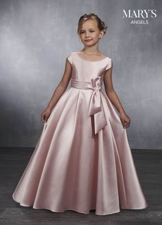 Long Mikado Flower Girl Dress with Cap Sleeves by Mary's Bridal - Kids lehenga choli - Frocks For Girls, Gowns For Girls, Girls Formal Dresses, Dresses Kids Girl, Girl Outfits, Little Girl Gowns, Girls First Communion Dresses, Pink Flower Girl Dresses, Lace Flower Girls