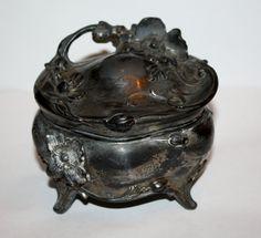 Victorian Jewelry Casket Box Trinket Jar  1900s  by patwatty, $25.00