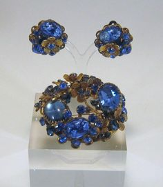 Extremely RARE Vintage 1950's Sapphire Blue Brooch and Ear Set by de Mario NY | eBay