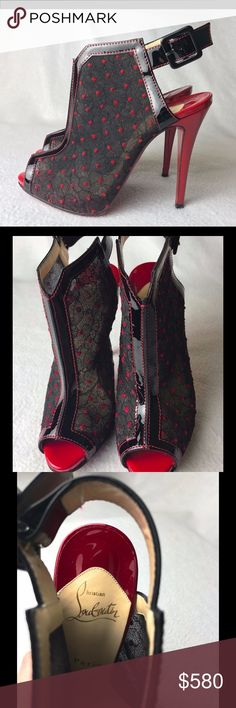 """Louboutin Catchiste 120 Lace Boots / Pumps 37 US 7 Great condition, worn handful of times. Grey stains on one heel, besides - no flaws.  The bottoms of the shoes have been resoled by professional cobbler with new expensive rubber red stick-on soles. Come with original dust bag only, NO box and extra taps. No receipt is kept.    Heel is 4.72"""" Insole is 9.45"""" Platform is 0.4"""" Christian Louboutin Shoes Ankle Boots & Booties"""