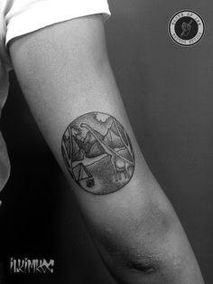 Dinosaur Tattoo #blackworktattoo #dotwork #mountain #tattoo #dinosaur