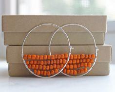 Handmade Beadwork Hoop Earrings, Orange African Glass Earrings, Wire Wrapped Hoops, Silver Hoops, Bohemian Earrings, Bohemian Jewelry