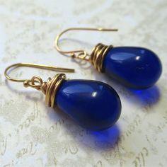 Earrings royal blue  czech glass teardrop beads by planettreasures