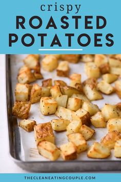 Sheet Pan Crispy Roasted Potatoes are an easy, delicious side dish! Paleo + friendly, these oven roasted potatoes are perfectly cooked + yummy! Easy Potato Recipes, Chicken Recipes Video, Side Dish Recipes, Dinner Recipes, Roasted Potato Recipes, Dessert Recipes, Healthy Potatoes, How To Cook Potatoes, Canned Potatoes