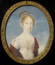 Maria Leopoldina of Austria, Empress of Brazil and Queen of Portugal. She was the fifth child and fourth daughter of Francis II and his second wife, Maria Theresa of Naples and Sicily. The miniature was done in 1821.