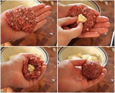 Brie Stuffed Meatball Collage