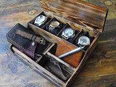 Wooden watch box, mens watch box, mens tool organizer
