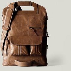 hard graft   One of a Kind Foldable Leather Laptop Bag — Designspiration