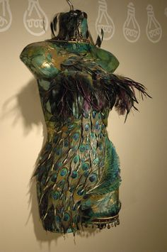Peacock Mannequin Lamp by CatInTheBoxCreations