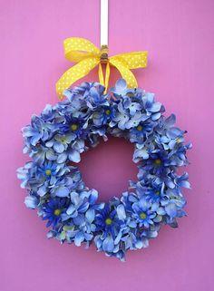 "Pretty Blue Hydrangea and Daisy Spring/Easter Wreath- Burlap Wreath 14"""