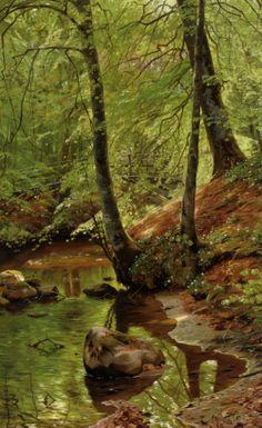 """Peder Mork Monsted (Peder Mork Mønsted) (1859-1941)  A Forest Stream  Oil On Canvas  -1895  85 x 54 cm  (33.46"""" x 21.26"""")"""