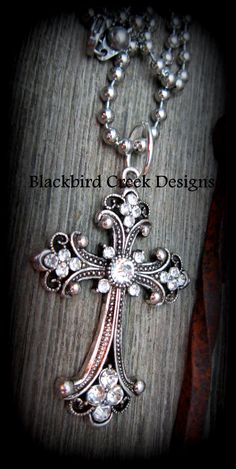 Large, Rustic, Ornate Cross Necklace with Rhinestones