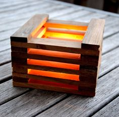 Recycled wooden candle holders for outdoor decoration '3cubes' - Lune et Animo