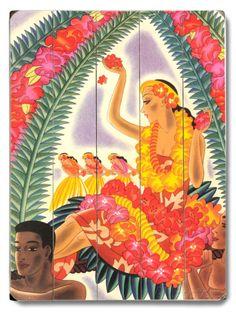 オールポスターズの「Hula and Lei」木製看板 #Hula #Hawaii #Aloha