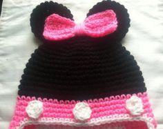 Crochet el sombrero de Minnie Mouse por CandesCustomHats en Etsy