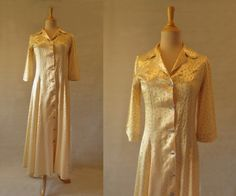 Lemon Floral Print Satin Dressing Gown, Robe - 1940s by LouisaAmeliaJane on Etsy
