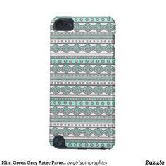 Mint Green Gray Aztec Pattern 5G iPod Touch Case